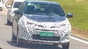 Brazilian-spec Toyota Vios (Toyota Yaris Sedan) front three quarters right side spy shot