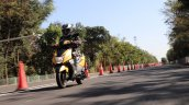 TVS Ntorq 125 front left quarter action first ride review