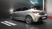 2018 Toyota Auris Hybrid rear three quarters at the 2018 Geneva Motor Show