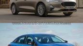 2018 Ford Focus Sedan vs 2014 Ford Focus Sedan front three quarters right side