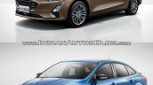 2018 Ford Focus Sedan vs 2014 Ford Focus Sedan front three quarters
