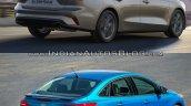 2018 Ford Focus Sedan vs 2014 Ford Focus Sedan rear three quarters right side