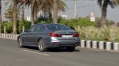 BMW 5-Series 530d review rear three quarters action shot