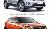 Hyundai Creta old vs new front three quarters