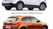 Hyundai Creta old vs new rear three quarters