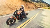 Kawasaki Vulcan S Pearl Lava Orange press front angle action