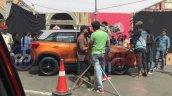 New Maruti Vitara Brezza orange-grey dual-tone profile spy shot
