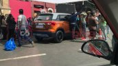 New Maruti Vitara Brezza orange-grey dual-tone rear three quarters spy shot