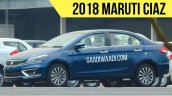 2018 Maruti Ciaz (facelift) blue front three quarters left side spy shot