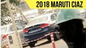 2018 Maruti Ciaz (facelift) rear three quarters spy shot