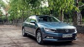VW Passat review front angle view