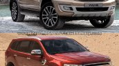 2019 Ford Everest vs. 2015 Ford Everest front three quarters right side