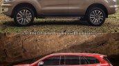 2019 Ford Everest vs. 2015 Ford Everest profile