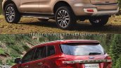 2019 Ford Everest vs. 2015 Ford Everest rear three quarters