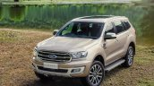 Facelifted Ford Everest (Facelifted Ford Endeavour) front three quarters elevated view
