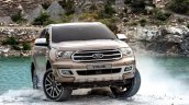Facelifted Ford Everest (Facelifted Ford Endeavour) front three quarters off-roading
