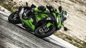 Kawasaki Ninja 300 2018 green riding front quarter