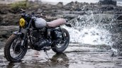 Royal Enfield Classic 500 modified scrambler 'Reckless' by Bulleteer Customs front left quarter