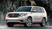 Next-gen Toyota Land Cruiser front three quarters rendering