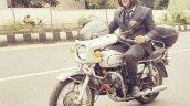 Silver Yamaha Rd350 By Vishal Agarwal Riding Shot