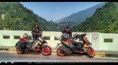 Debolina Mukherjee And Riya Roy With Their Aprilia