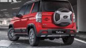 Accessorised Mahindra Tuv300 Rear Three Quarters