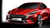 Hyundai Aura Front Three Quarters Rendering