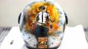 Custom Painted Pubg Theme Vega Helmet Rear View