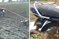 Farmers use a Hero Splendor to till soil & harvest groundnuts [Video]