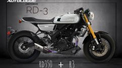 Autologue Design creates Yamaha YZF-R3 cafe racer render with RD350 inspired styling