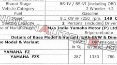 Exclusive: BS-VI Yamaha FZ and BS-VI Yamaha FZS tech specs leaked