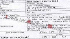 Lexus ES getting BS-VI upgrade soon