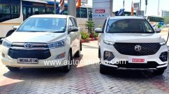 Top-end MG Hector Plus spotted next to Toyota Innova Crysta