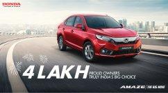 Honda Amaze surpasses 4 lakh cumulative sales milestone in India
