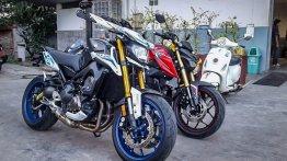 Yamaha M-Slaz snapped next to Yamaha MT-25 and Yamaha MT-09 - In Images