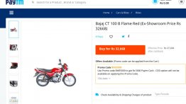 Bajaj CT100B priced at INR 27,668 on Paytm - IAB Report