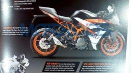 2017 KTM RC390 & 2017 KTM RC200 brochure leaks out
