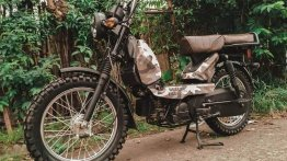 TVS XL100 wears camouflage paint & knobby tyres