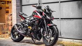 Bajaj Pulsar with 350 cc engine modified to look like the Kawasaki Z1000