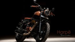 Custom Royal Enfield Thunderbird transformed into a rugged looking scrambler