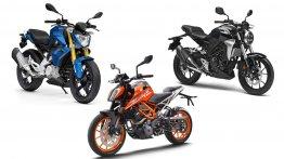 Honda CB300R vs KTM 390 Duke vs BMW G 310 R - Spec sheet comparo