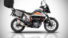 KTM 390 Adventure with luggage panniers looks ready for an adventure