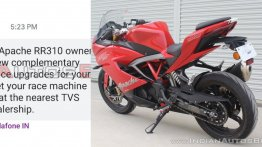 TVS Apache RR310 gets complementary performance upgrades