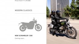 Triumph Scrambler 1200 listed on Indian website