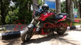 2019 Bajaj Dominar 400 snapped in red colour in India