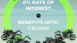 Select Kawasaki models available at 0% interest rate or benefits of up to INR 47,000