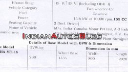 BS-VI Yamaha MT-15 specifications leaked ahead of launch