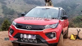 2020 Tata Nexon (facelift) with factory-fitted sunroof snapped during its ad shoot