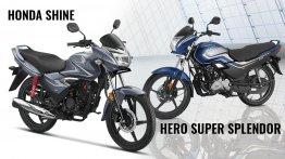 BS-VI Hero Super Splendor vs BS-VI Honda CB Shine - Spec Comparison