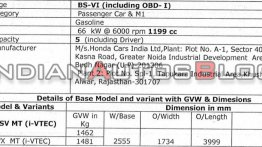 Exclusive: 2020 Honda WR-V variants and specs leaked, to be launched soon